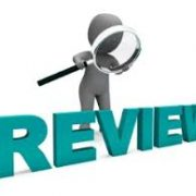 "CGI person looking at the word ""review"" with a magnifying glass"