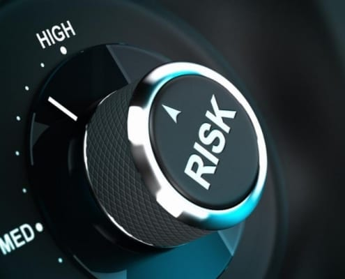 Close-up of a dial showing high risk